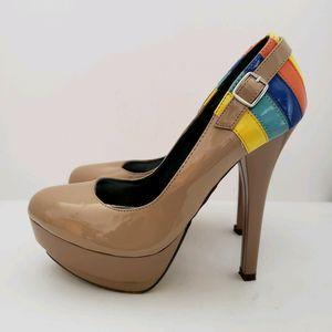 Michael Antonio Stileto Heel Nude Rainbow Platform